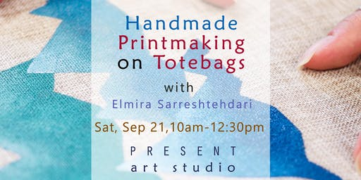 Handmade Printmaking on Tote-bags: Blue Mountains