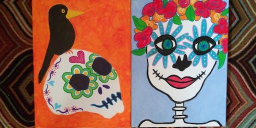 Sugar Skull Canvas Painting: Sep. 15