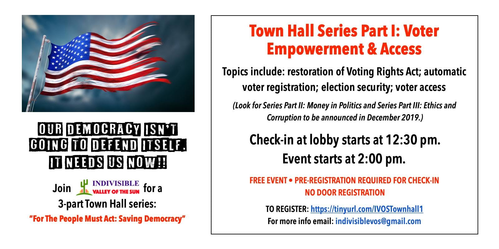 Town Hall  Series: For the People Must Act: Saving Democracy: Part 1: Voter Empowerment and Access