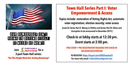Town Hall  Series: For the People Must Act: Saving Democracy: Part 1: Voter Empowerment and Access tickets