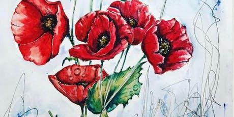 """""""Poppies"""" Exclusive Art Class with a skill focus and subject focus tickets"""