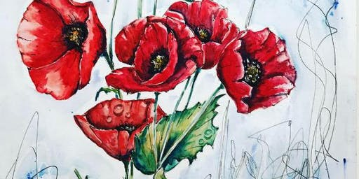 """""""Poppies"""" Exclusive Art Class with a skill focus and subject focus"""