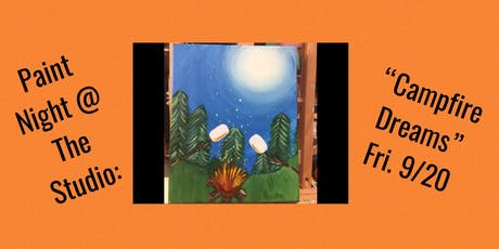 "Paint Night @ The Studio:  ""Campfire Dream"" - 11x14 Take Home Canvas Art tickets"
