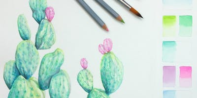 Watercolor Class Introduction to Watercolor pencils prickly pear