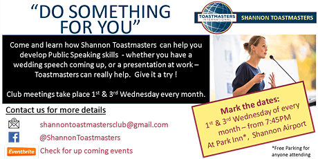 Shannon Toastmasters - Club meetings tickets