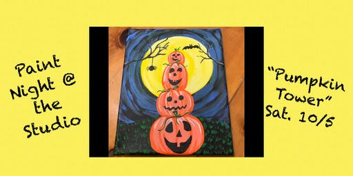 "Paint Night @ The Studio:  ""Pumpkin Tower"" - 11x14 Take Home Canvas Art"