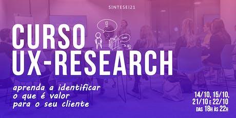Curso UX Research  - Florianópolis (14/10 a 22/10) ingressos
