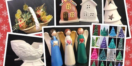 Paint & Go Ceramics Adult (18yrs+) Christmas Trees, House, Sleigh, Basket, Angel
