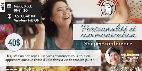"""Souper-conférence """"Personnalité et communication"""" tickets"""