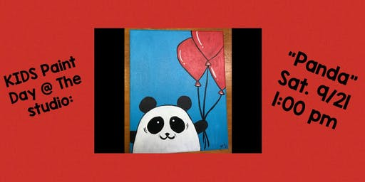 "KIDS - Paint Day @ The Studio:  ""Panda"" - 8x10 Canvas Take Home Art"