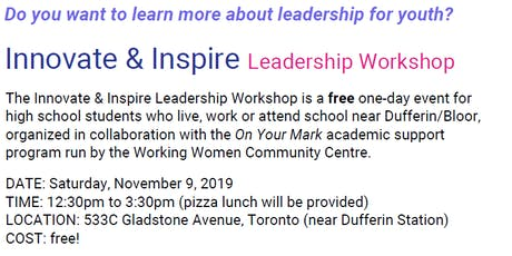 Innovate & Inspire Youth Leadership Workshop tickets