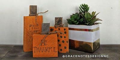 Night Out at Boxcar! Pumpkin Sign Craft