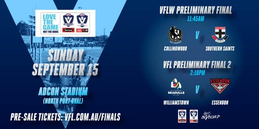 2019 VFL/VFLW Prelim Final 2: (VFL- Will vs Ess) (VFLW- Coll vs Saints)