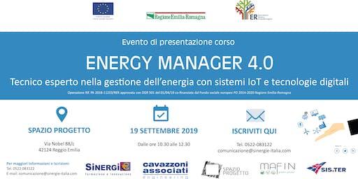 """EVENTO DI PRESENTAZIONE CORSO GRATUITO """"ENERGY MANAGER 4.0"""""""
