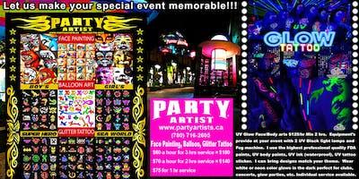 www.partyartists.ca  UV Glow Body Arts Balloon Twisting Glitter Tattoo