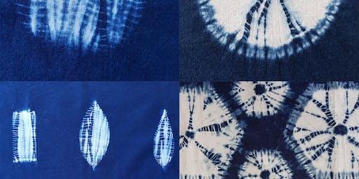 Guntai and makiage shibori with indigo dyeing