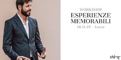 WORKSHOP // ESPERIENZE MEMORABILI (Workshop per operatori del settore della ristorazione).