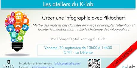 """Les ateliers du K-Lab """"Créer une infographie avec Piktochart"""", CNIT La Défense billets"""