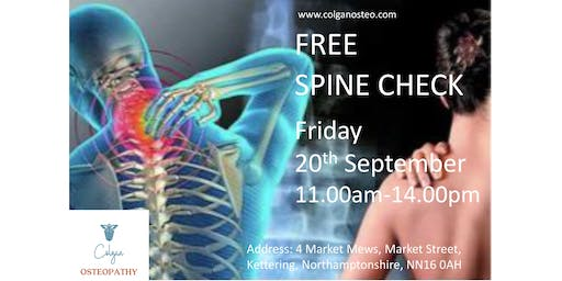 Free Spine Check at Colgan Osteopathy, Kettering Northamptonshire