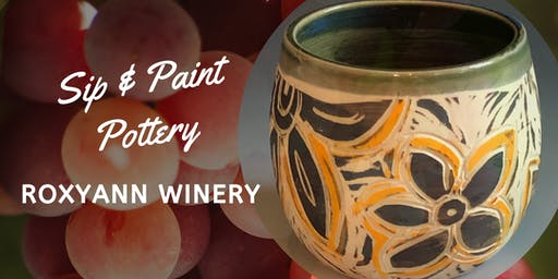 Sip and Paint Pottery at Roxy Ann Winery!