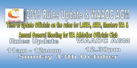 2019 WAAOC AGM & Rules Update tickets