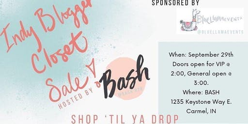 Indy Blogger Closet Sale VIP, Early Access Tickets