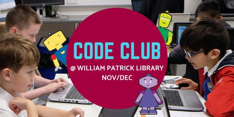 Nov/Dec Code Club @ William Patrick Library tickets