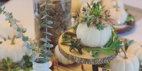 DIY pumpkin succulent diffuser tickets