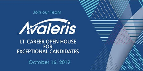 AVALERIS I.T. CAREER OPEN HOUSE FOR EXCEPTIONAL CANDIDATES tickets