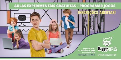 Aula Experimental Gratuita - Jogos 12-17 anos (Happy Code Campo Ourique) bilhetes