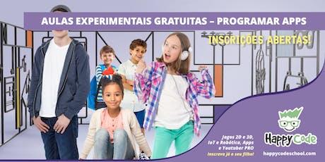 Aula Experimental Gratuita - Apps 7-14 anos (Happy Code Campo Ourique) bilhetes