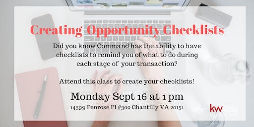 Creating KW Command Opportunity Checklists