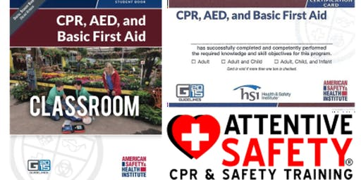 CPR, AED, and Basic First Aid, $80, Same day ASHI card.