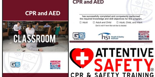 CPR and AED Course, $65, Same day ASHI Card
