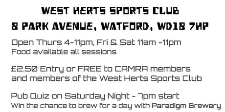 25th Watford Beer Festival tickets