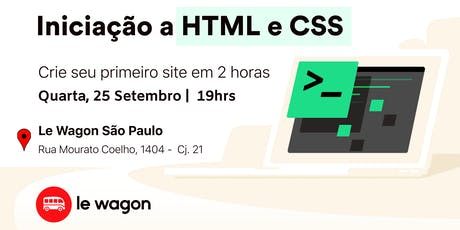 Crie sua landing page em 2 horas - Iniciação a HTML e CSS tickets