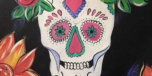 Sugar Skull! Painting at Montavino Winery!
