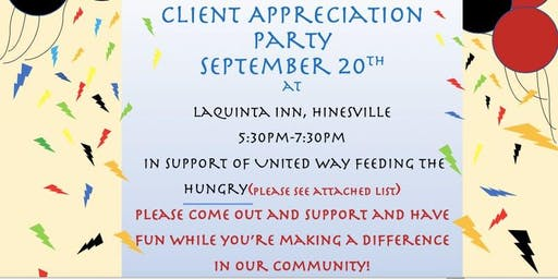 Client Appreciation Party Benefiting The United Way - Eliminate Hunger Initiative
