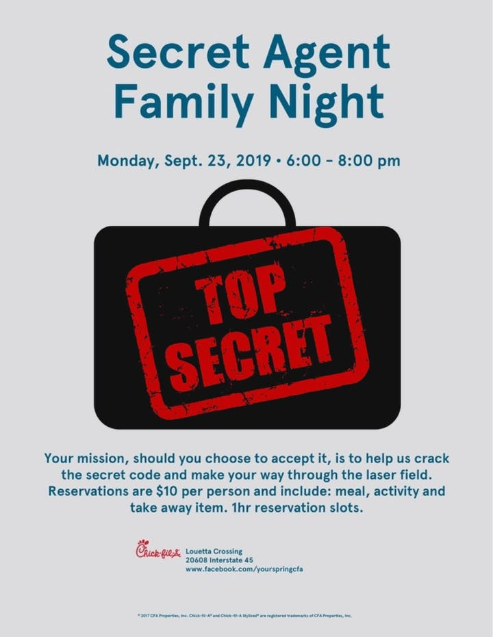 Family Secret Agent Night Tickets, Mon, Sep 23, 2019 at 6:00