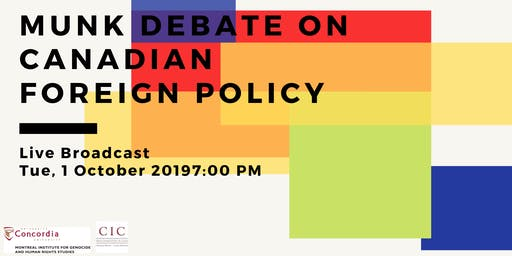 Live Broadcast: Munk Debate on Canadian Foreign Policy