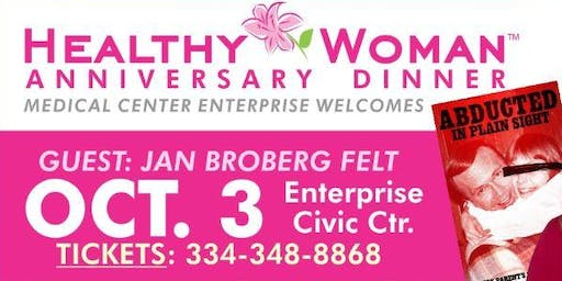 """2019 Healthy Woman Anniversary Dinner Featuring Jan Broberg Felt, """"Abducted in Plain Sight"""""""