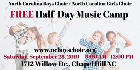 Free Music Half-Day Camp + Choir Workshop in Chapel Hill tickets