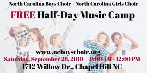Free Music Half-Day Camp + Choir Workshop in Chapel Hill