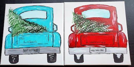 Canvas  Farmhouse truck/tree  $35.00 tickets