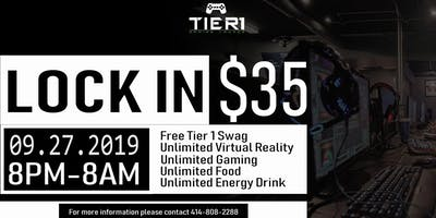 Tier 1 Gaming Lounge August All Night Lock-In