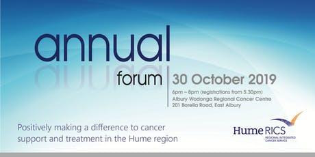 Hume Regional Integrated Cancer Service (HRICS) Annual Forum October 2019 tickets