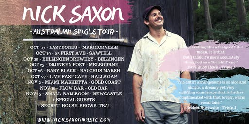 "Nick Saxon live at ""63 First Ave"" Sawtell"