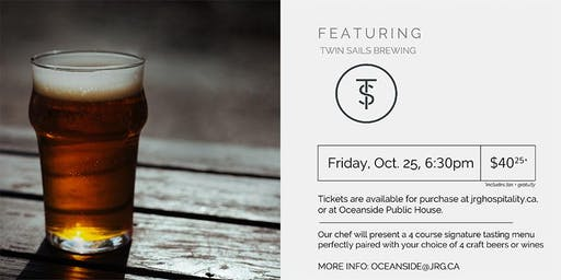 4 Course Twin Sails Brewing Pairing Dinner at Oceanside Public House