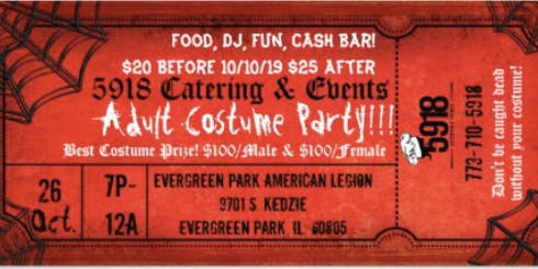 5918 Catering and Events Adult Costume Party
