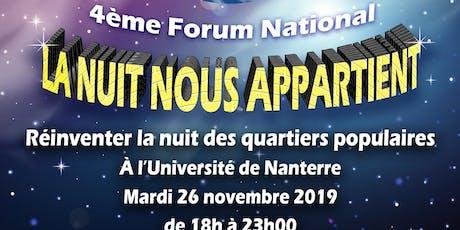 """4ème Forum national """"la nuit nous appartient"""" billets"""
